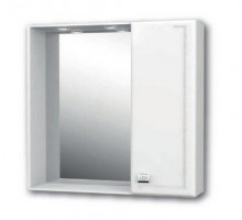 "Зеркало ""Толедо"" 65см, шкаф справа,свет, розетка, белый (код 27648)"