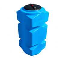 Танк для воды 500 л вертикальный с фланцем и крышкой с клапанами, со сливом Синий Т500ВФК2З