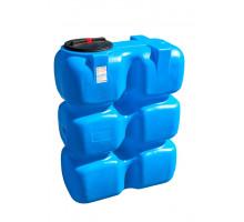 Танк для воды 1500 л с фланцем и крышкой с клапанами, со сливом  Синий Т1500ФК2З