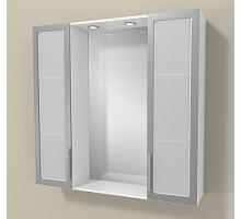 "Зеркало ""Виттория"" 75см, 2 шкафа по бокам, свет, розетка, выкл., белый(код 27665)"