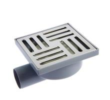 Трап горизонтальный 50 не регулируемый с сухим затвором решетка нержавеющая сталь 100х100,  белый