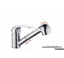 Смеситель для кухни POTATO P60203 одноруч, с выдвижной лейкой, шпил,длина шланга 1,2 м.