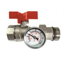 Кран шаровый латунный с термометром (красная ручка) ТАЭН