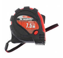 Рулетка Status magnet 3 fixations, 7,5*25 мм,обрезиненный корпус,зацеп с магнитом// MATRIX