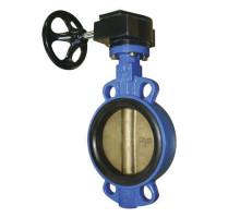 Затвор поворот дисковый редуктор Д 250 корпус и диск ковкий чугун (PN 1.6 Mpa,t=130 С°)
