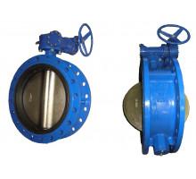 Затвор поворот дисковый редуктор Д 400 корпус и диск ковкий чугун (PN 1.6 Mpa,t=130 С°)