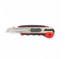 Нож, 18 мм, выдвижное лезвие, усиленная метал. направляющая, метал. обрезин. ручка// MATRIX MASTER