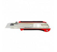 Нож, 25 мм, выдвижное лезвие, усиленная метал. направляющая, метал. обрезин. ручка// MATRIX MASTER